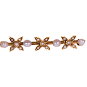Solid 14K Yellow Gold Lingerie Pin Featuring 4 Cultured Pearls & Seed Pearls