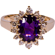 Solid 14K Yellow Gold Amethyst Ring Featuring High Quality Natural Accent Diamonds -  Size 6.25