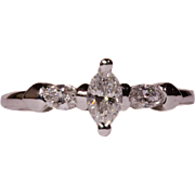 Solid 14K White Gold Three Stone Ring Featuring Marquise Cut Genuine Diamonds Size 5.5