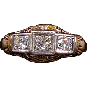 Solid 14K Yellow & White Gold Ring Featuring 3 Natural Diamonds