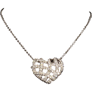 Solid 14K White Gold Woven Heart Pendant Featuring Natural Round Brilliant Cut Diamonds - 1.00 CTTW!