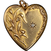 Beautiful Art Nouveau Solid 14K Yellow Gold Heart Locket/Pendant ft. a Genuine Diamond!