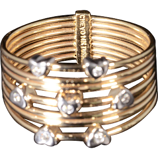 Beautiful Diamond Heart Statement Band Set In Solid 14K Two-Tone Gold!