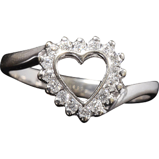 Genuine Diamond Heart Shaped Ring Set In Solid 14K White Gold!