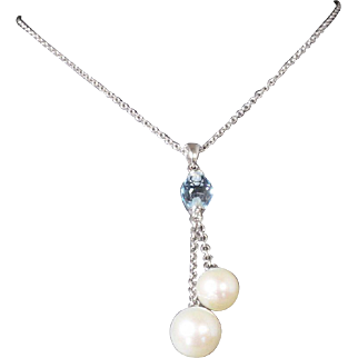 Natural Blue Topaz and Cultured Pearl Pendant on a Solid 14K White Gold Chain!