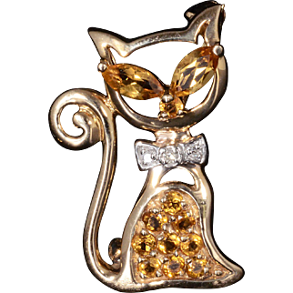 Natural Citrine & Genuine Diamond Cat Pin Set In Solid 14K Yellow Gold!