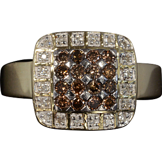 Solid 14K Yellow Gold Genuine Chocolate & White Diamond Cluster Ring!
