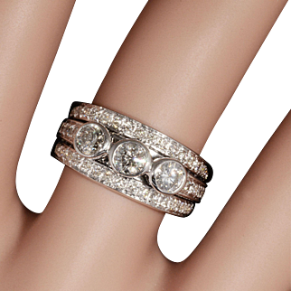 Three-Stone Genuine Diamond Ring Ft. Accent Diamonds & Set In Solid 14K White Gold! 1.10CTTW