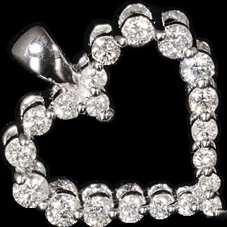 Gorgeous Genuine Diamond Heart Pendant Set In Solid 18k White Gold!