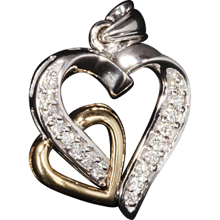 Solid 14K Two-Tone & Genuine Diamond Heart Pendant! 0.50CTTW!!