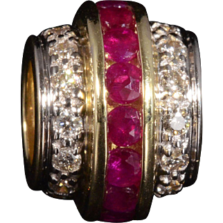 Solid 14K Yellow Gold Slide Featuring 18 Natural Rubies & 36 Genuine Diamonds!