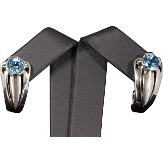 Beautiful Solid 14K White Gold Earrings Featuring Genuine Blue Topaz