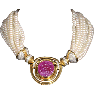 100% Authentic Fred Joaillier Pearl, Carved Ruby and Diamond Necklace Set in Solid 18K Yellow Gold