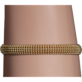 Solid 14K Yellow Gold Mesh Bracelet Featuring Genuine Sapphires!