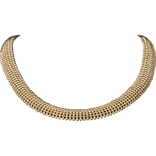 Solid 14K Yellow Gold Mesh Necklace Featuring Genuine Sapphires!