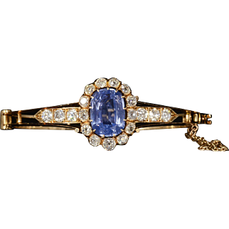 Stunning Antique GIA Certified Natural Sapphire & Genuine Diamond Bracelet Set in Solid 18K Yellow Gold!