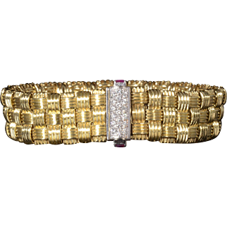 100% Authentic Roberto Coin Solid 18K Yellow Gold Appassionata Woven Bracelet Ft. Genuine Diamonds & Rubies!