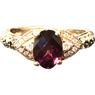 Authentic LeVian Garnet/Diamond/Choc Dia Ring Solid 14K Yellow Gold $2200 Retail