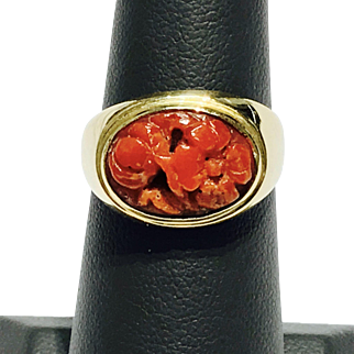 Solid 18K Yellow Gold Ring Featuring Carved Arabic Genuine Coral Retail $2250