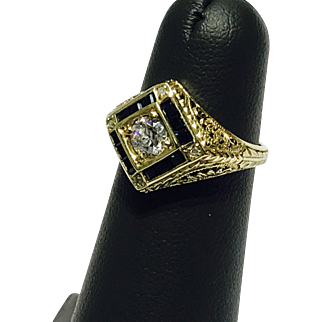 Antique Genuine Diamond/Sapphire Ring Set in Solid 14K Yellow Gold Retail $3500!