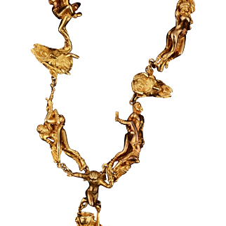 Solid 19K Yellow Gold Handmade Extreme Erotica Necklace Weighing 449.1 Grams!