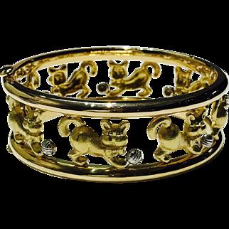 """Solid 18K Yellow Gold """"Playful Kitten"""" Bangle Bracelet 60.8g - TRUSTED SELLER"""