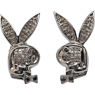 Solid 14K White Gold Playboy Bunny ft. Genuine Colorless & Black Diamonds