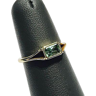 Solid 14K Yellow Gold Ring Featuring a 0.49ct Mint Green Teal Tourmaline