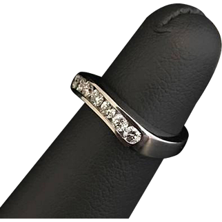Solid 14K White Gold Natural Diamond Channel Set Band 4.7G