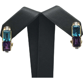 Gorgeous Genuine Topaz, Amethyst & Diamond Earrings Set in Solid 14K Yellow Gold