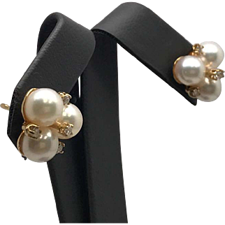Gorgeous Cultured Pearl & Diamond Earrings Set in Solid 14K Yellow Gold