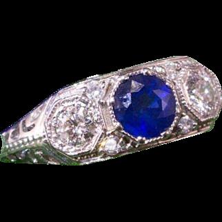 Solid 14K White Gold Genuine Sapphire & Diamond Ring 2.3 Grams
