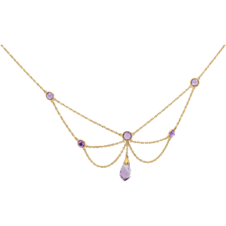 Solid 14K Yellow Gold & Amethyst Necklace 3.8 Grams