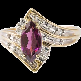 Solid 14K Yellow Gold Rhodolite Garnet & Diamond Ring 3.8 Grams
