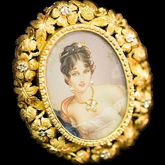 Solid 18K Yellow Gold Hand Painted & Natural Diamond Pin/Pendant 16 Grams