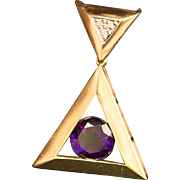 Solid 14K Yellow Gold Genuine Amethyst & Natural Diamond Pendant 6.3 Grams