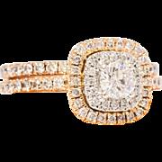 Solid 14K Rose Gold & Natural Diamond Ring 4.4 Grams