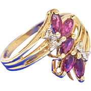 Solid 14K Yellow Gold Genuine Ruby & Natural Diamond Ring 3.4 Grams