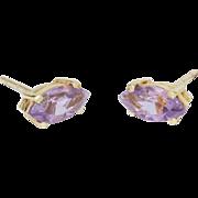 Solid 14K Yellow Gold Natural Amethyst Earrings 1.9 Grams