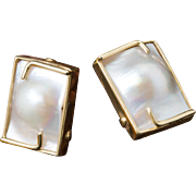 Solid 14K Yellow Gold Natural Blister Pearl Earrings 7.1 Grams