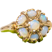 Solid 14K Yellow Gold Natural Opal Ring 3.1 Grams