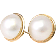 Solid 14K Yellow Gold & Natural Mabe Pearl Earrings 5.2 Grams