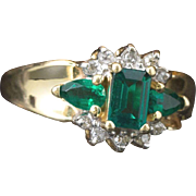 Solid 14K Yellow Gold Genuine Emerald & Natural Diamond Ring 4.9 Grams