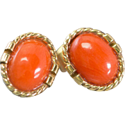 Solid 14K Yellow Gold Genuine Coral Earrings 2.1 Grams