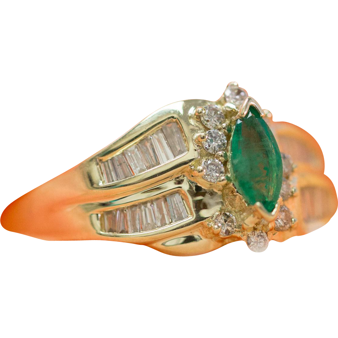 solid 14k yellow gold genuine emerald