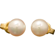 Authentic Mikimoto 18K Yellow Gold Pearl Necklace and Earring Set 34.6 Grams