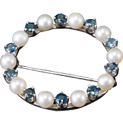Solid 14K White Gold Sapphire & Pearl Pin 6.5 Grams