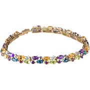 "Solid 14K Yellow Gold Multi Stone 7.5"" Bracelet 9.5 Grams"