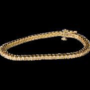 "Solid 14K Yellow Gold & Natural Diamond Tennis Bracelet 7"" 9.6 Grams"