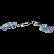 Solid 14K White Gold Genuine Blue Topaz Dangle Earrings 3.9 Grams